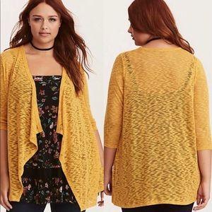 Torrid Mustard 0 0X Open Cardigan Sweater